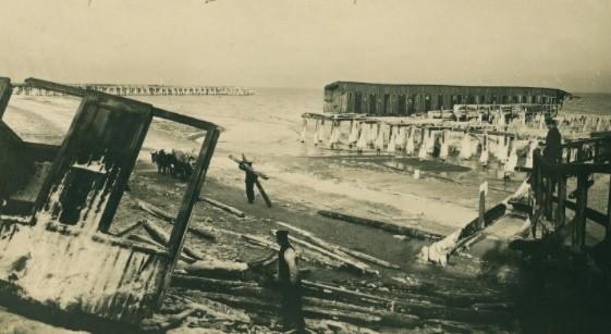 Zniszczone łazienki kąpielowe na Westerplatte - 9/10.01.1914...