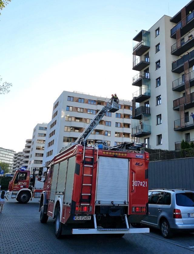 Strażacy przyjechali na pomoc z drabiną mechaniczną