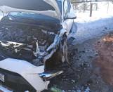 Wypadek na drodze wojewódzkiej Topczewo - Nowe Piekuty. Toyota zderzyła się z audi [ZDJĘCIA]