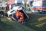 Wypadek pod Kłobuczynem. Bus pełen dzieci wpadł do rowu [ZDJĘCIA]