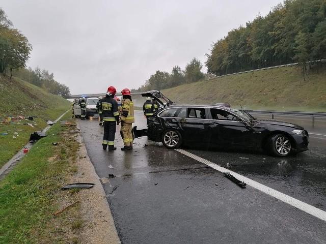 Wypadek na A4 pomiędzy bramkami w Balicach i Rudnem