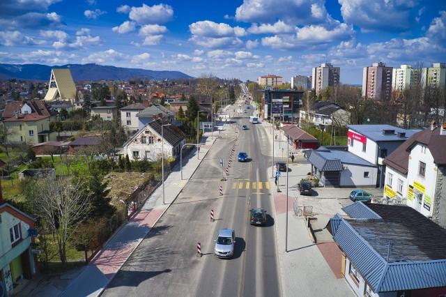 Przebudowa ul. Cieszyńskiej - stan na 30 kwietnia 2021 r.Zobacz kolejne zdjęcia. Przesuwaj zdjęcia w prawo - naciśnij strzałkę lub przycisk NASTĘPNE