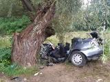 Tragiczny wypadek w Opatowie. Uczniowie jechali do szkoły, audi uderzyło w drzewo. Nie żyje 18-latek, dwie osoby ranne