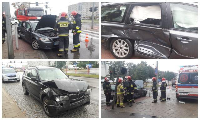 Wypadek na skrzyżowaniu Żeromskiego i Pułaskiego w Białymstoku. BMW na czerwonym świetle staranowało volvo. Sześcioletnie dziecko trafiło do szpitala
