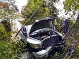 DK 28. Dodge wypadł z drogi, dachował, połamał drzewa i... stanął w potoku