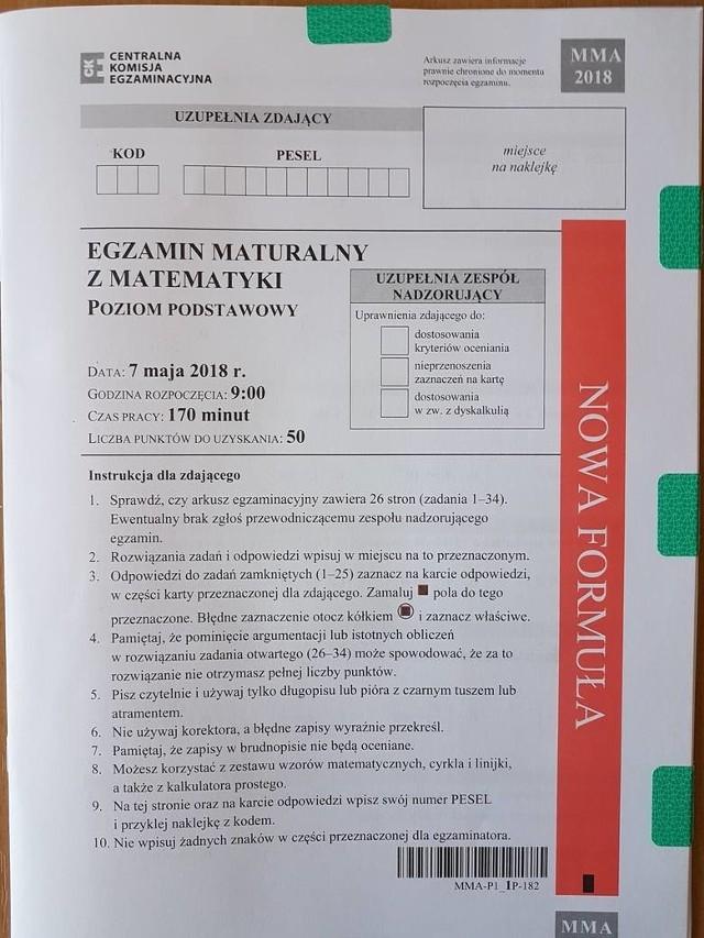ARKUSZE CKE MATEMATYKA, MATURA 2019, ODPOWIEDZI