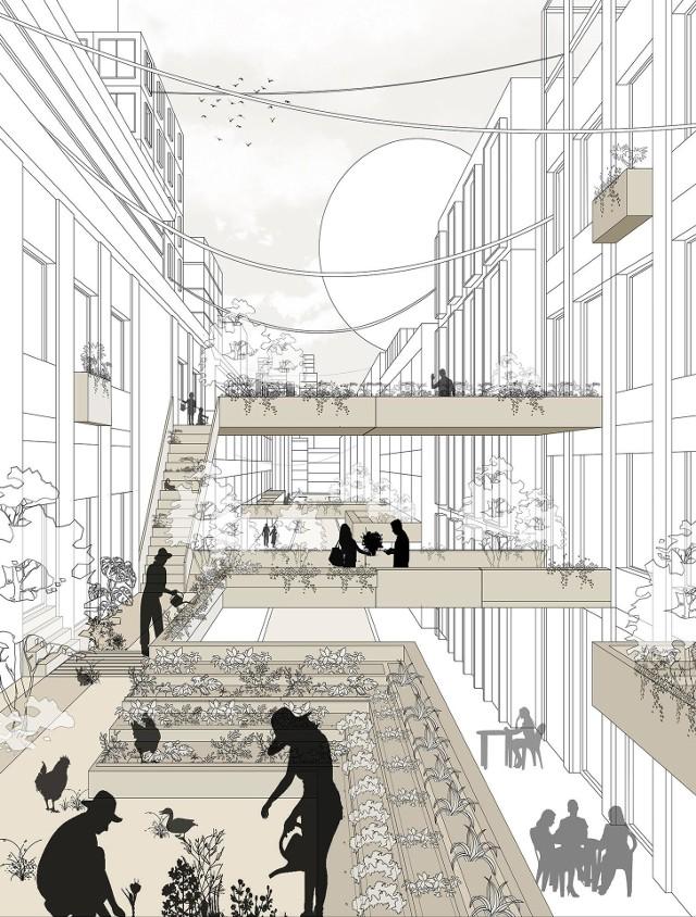 Tak prezentuje się na grafikach nagrodzony projekt wertykalnej farmy miejskiej autorstwa Julii Sierpień i Yaroslava Panasevycha