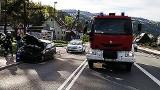 Zderzenie samochodów osobowych zablokowało główną drogę w dolinie Popradu
