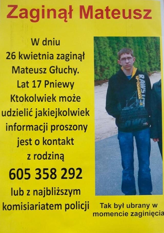 Zaginął 17-letni Mateusz Głuchy z Pniew. Ktoś go widział?