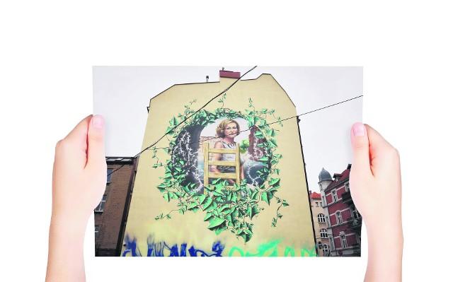 Mural z tragicznie zmarłą w Smoleńsku Krystyną Bochenek znajduje się w Katowicach przy ulicy Wojewódzkiej 48