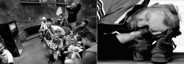 Z lewej zdjęcie Marcina Bieleckiego. Kibice na podwórku dopingują polską reprezentację piłkarską. Andrzej Szkocki uwiecznił kloszarda śpiącego na ławce w centrum Szczecina.