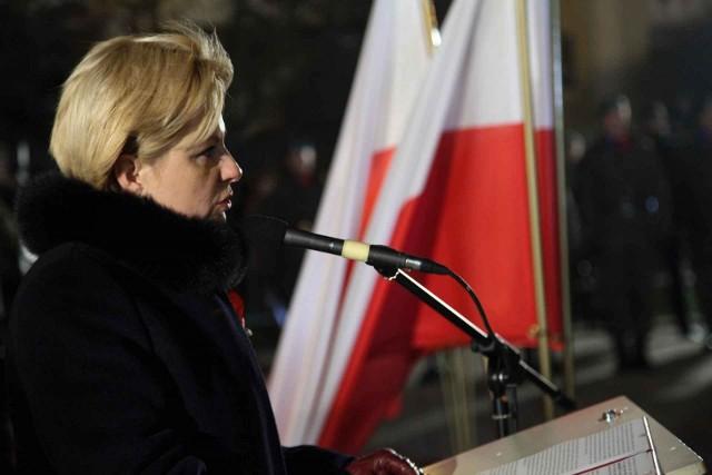 Urszula Jabłońska podczas przemówienia