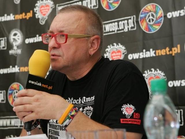 Jurek Owsiak w czasie konferencji poświęconej Przystankowi Woodstock 2013.