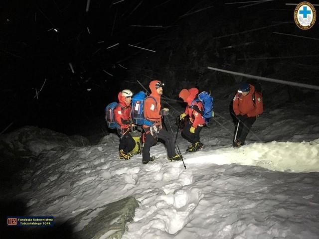 Nocna akcja ratunkowa w Tatrach, zdjęcie archiwalne.