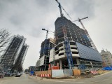 Katowice. Budowa Global Office Park nabrała rozmachu. Konstrukcję wieżowców widać już przy wjeździe do centrum. To będą 100-metrowe wieże