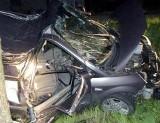 Renault wbiło się w skarpę. Trójka pasażerów wypadła przez szybę.