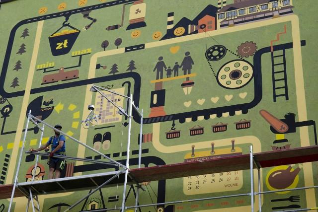 Olbrzymi mural  powstał na 40-lecie podpisania Porozumienia Jastrzębskiego
