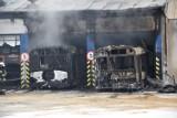 Pożar w hali miejskiej komunikacji w Wejherowie. Spłonęły dwa autobusy. Na miejscu działało 14 zastępów straży pożarnej| [zdjęcia]