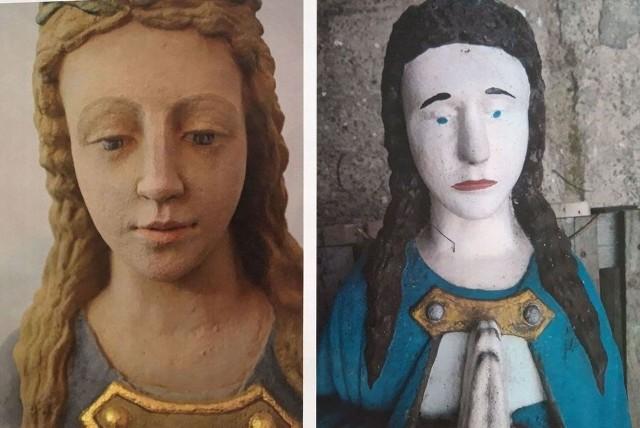 Na zdjęciach udostępnioch przez konserwatora zabytków przedstawiono zestawienie twarzy rzeźby. Widać na nich stopień zniszczenia kamienia pod skorupą nawarstwień.