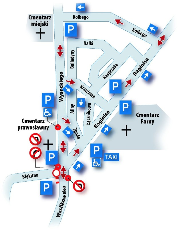 Na zmotoryzowanych w rejonie cmentarzy czekają (oprócz stałych) także dodatkowe parkingi.