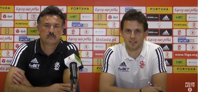 Trener Wojciech Stawowy i rzecznik ŁKS Bartosz Król