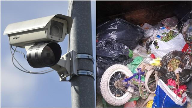 W kontenerze na śmieci przy cmentarzu komunalnym w Błoniu, strażnicy gminni znajdują m.in. rowery, opony czy zabawki dziecięce