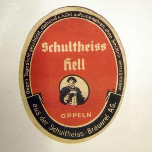 Etykieta piwa produkowanego w Opolu przed wojną.