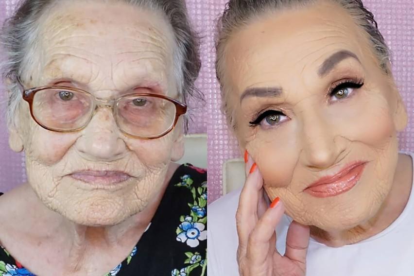 Dobrze wykonany makijaż potrafi zdziałać prawdziwe cuda: nie tylko wymodelować twarz, ale nawet odmłodzić o kilka dekad. Najlepszym dowodem są zdjęcia starszych pań, które zostały poddane metamorfozie. To niewiarygodne, jak wiele można zmienić za pomocą odpowiedniego konturowania. Pod warstwą podkładu, korektora, pudru i bronzerów nie tylko znikają zmarszczki - twarz zyskuje koloryt, a spojrzenie blask i pewność siebie. Jak zmieniły się starsze kobiety? Są nie do poznania! Zobaczcie sami w galerii.  źródło zdjęcia