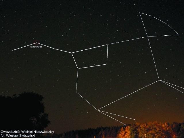 Mizar i Alkor znajdują się w konstelacji Wielkiej Niedźwiedzicy (z lewej).