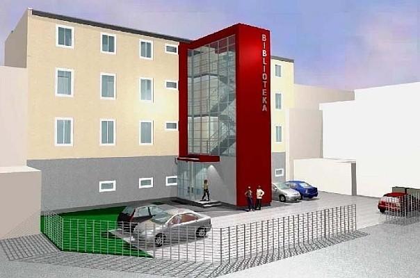 Tak ma wyglądać budynek biblioteki od strony ulicy Targowej. Prace budowlane pochłoną co najmniej dwa miliony złotych.