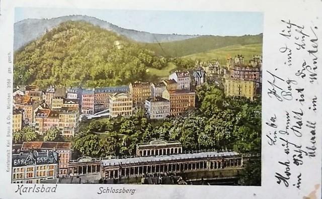 XIX-wieczna pocztówka wysłana z uzdrowiska Karlsbad
