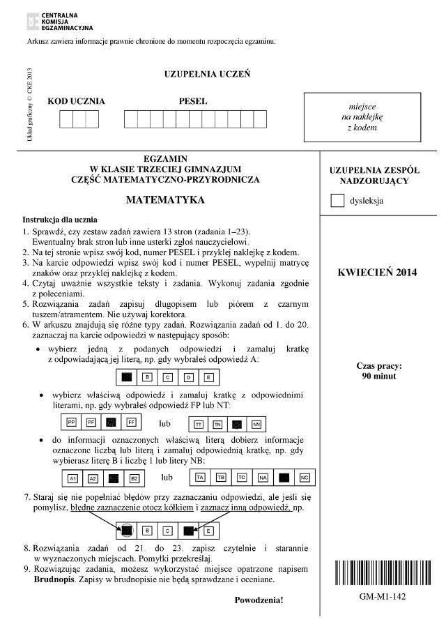 Egzamin gimnazjalny 2014. Matematyka [PYTANIA I ODPOWIEDZI]