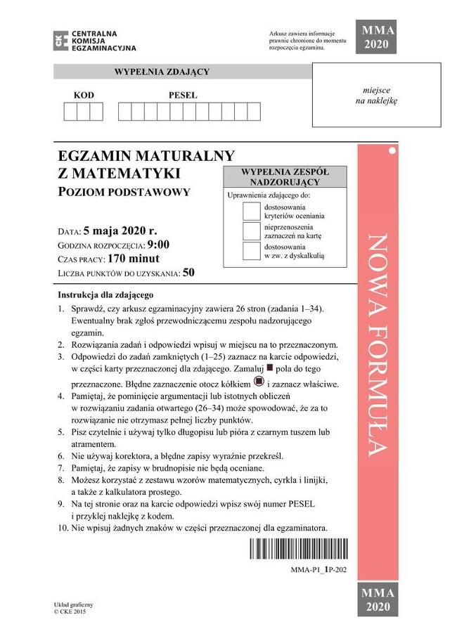 Zadania z matury z matematyki 2020