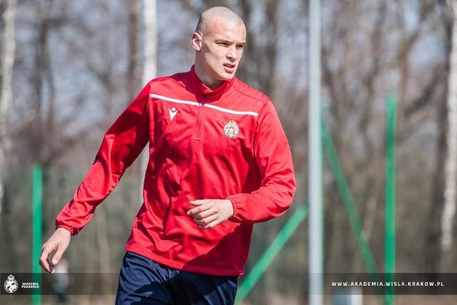 Paweł Koncewicz-Żyłka podczas treningu z pierwszą drużyną Wisły Kraków