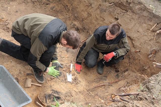 Ludzkie szczątki ekshumowali m.in. Maciej Erdmann (z lewej) i Maksymilian Frąckowiak ze stowarzyszenia Pomost, które szuka w zachodniej Polsce wojennych mogił niemieckich żołnierzy.