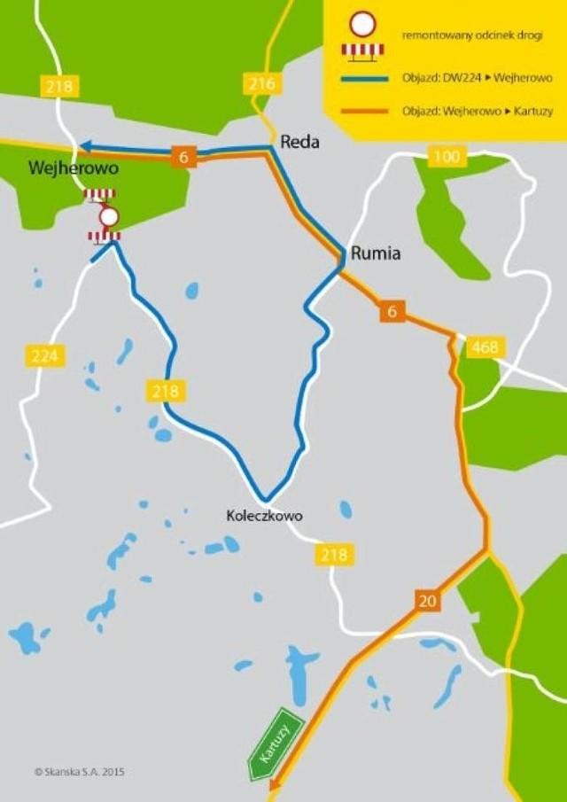 Remont drogi wojewódzkiej 218 za Wejherowem. Mapa objazdu
