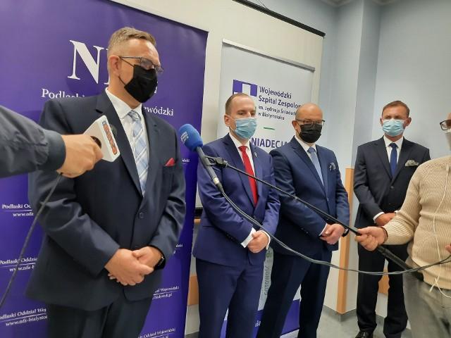 Briefing prasowy poświęcony zwiększeniu finansowania podlaskich szpitali (22.09.2021 r.).