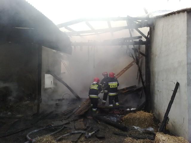 Mieszkańcy i strażacy uratowali maszyny, które były w stodole. Budynek spłonął.