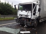Wypadek na S1 w Tychach. Zderzenie dwóch ciężarówek. Utrudnienia
