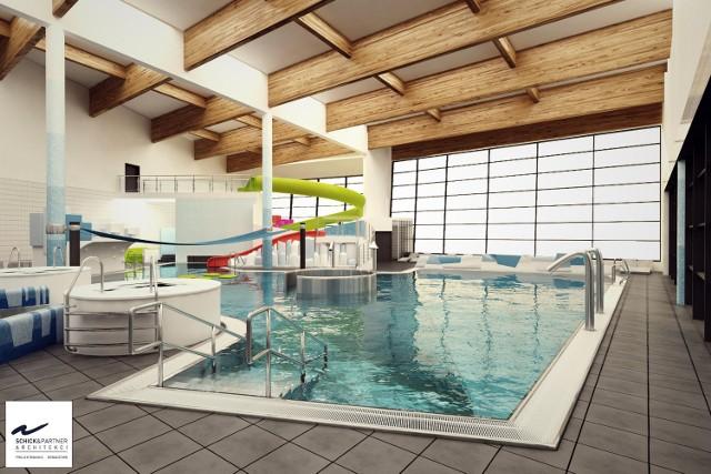 Hala basenów rekreacyjnych  składać się ma z dwóch poziomów, znajdą się tam m.in. kładki, wyspa, taras słoneczny i antresola.