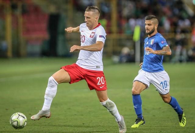 Klubowi koledzy z Napoli Piotr Zieliński (z lewej) i Lorenzo Insigne podczas meczu Ligi Narodów Włochy - Polska, rozegranego 7 września 2018 roku w Bolonii