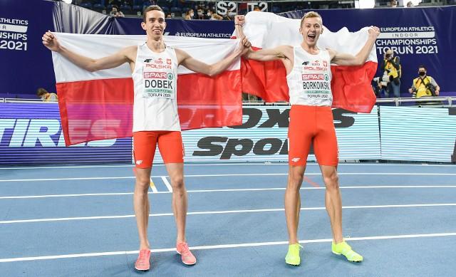 Patryk Dobek (od lewej) i Mateusz Borkowski zajęli dwa pierwsze miejsca w biegu na 800 metrów