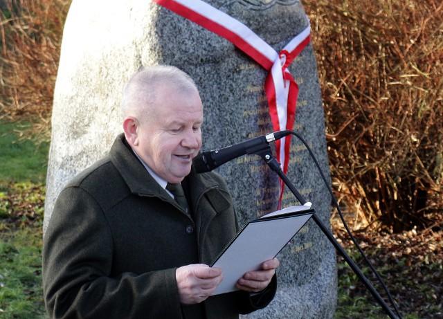 """Zygmunt Krzemień, przewodniczący komitetu budowy obelisku upamiętniającego ofiary """"Rzezi wołyńskiej"""" w Grudziądzu"""
