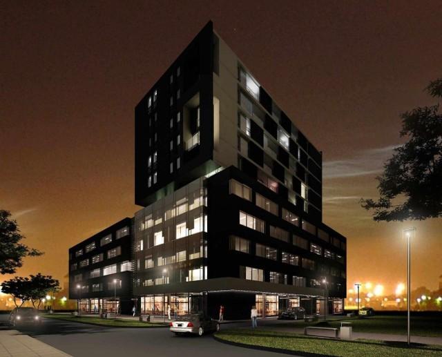 Apartamentowiec EtiudaTak wygląda – na razie na wizualizacji – obiekt, który firma Becher planuje wznieść przy ulicy Panoramicznej w Kielcach.