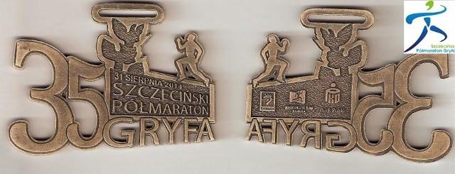 Tak wyglądają awers i rewers medalu 35. Półmaratonu Gryfa.