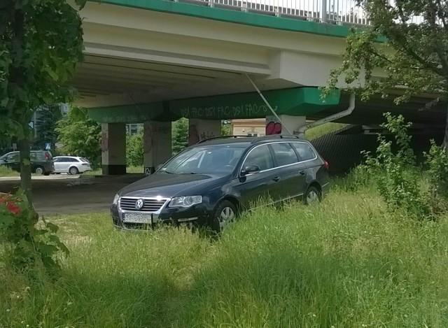 Autodrań zaparkował na trawniku przy ul. Sulechowskiej w Zielonej Górze.