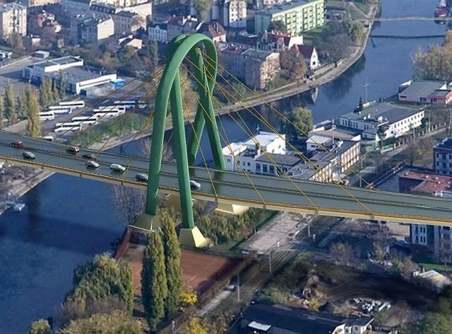 Widowiskowy pylon mostu na Trasie Uniwersyteckiej ma szanse stac sie symbolem Bydgoszczy