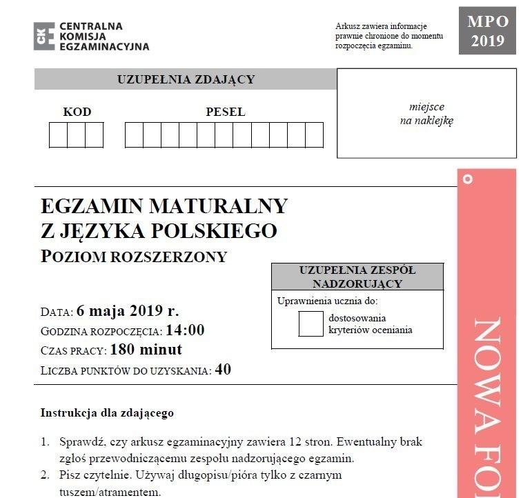Matura 2019. JĘZYK POLSKI poziom rozszerzony 6.05.2019 -...
