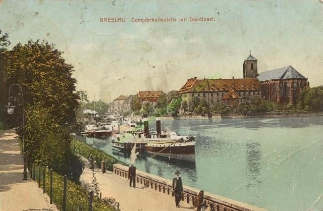 Lata 1905-1910 , Wyspa Piasek widziana z bulwaru Dunikowskiego.