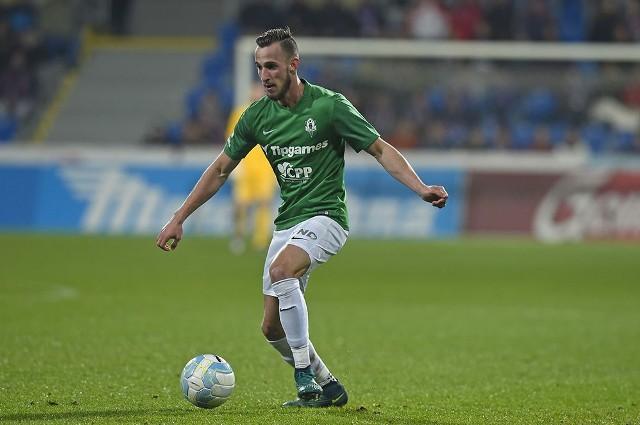 Matěj Hybš w barwach FK Jablonec, do którego był ostatnio wypożyczony
